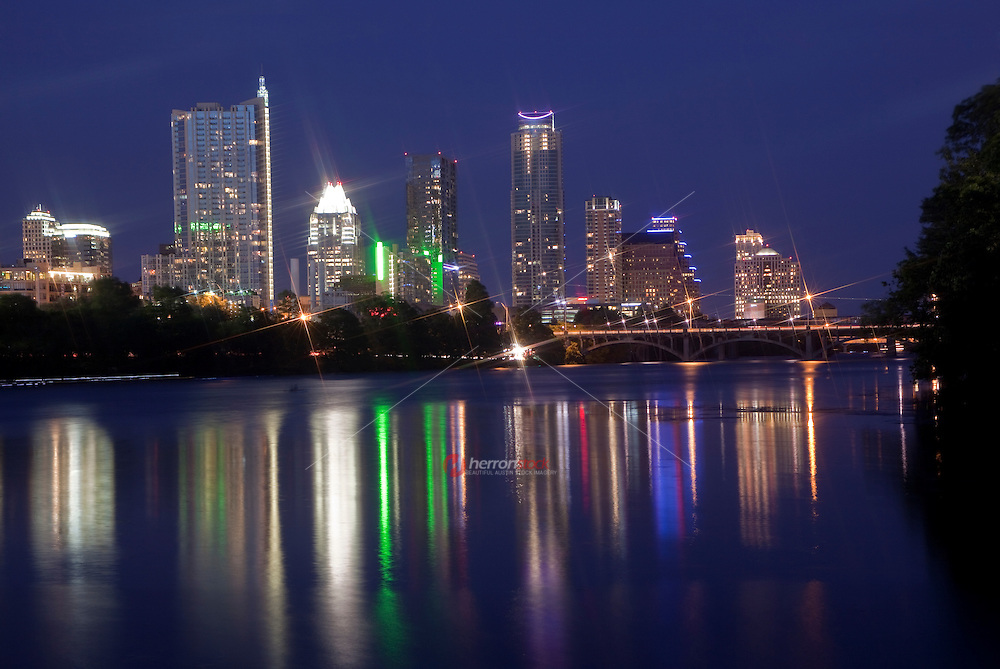 Austin, Texas Skyline with colorful reflection on Town Lake Austin