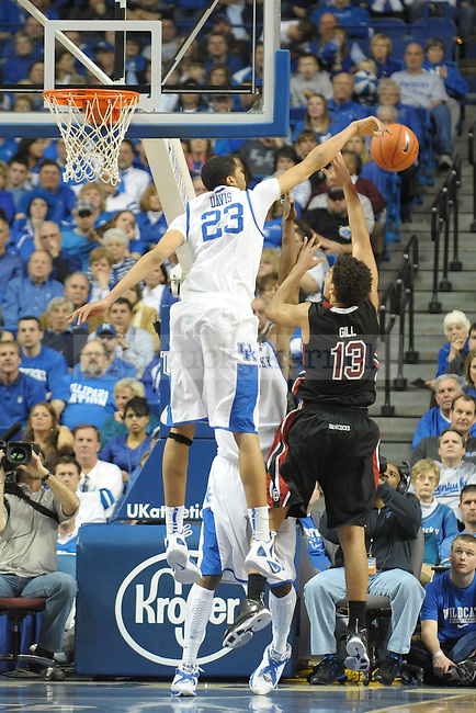 Kentucky's Anthony Davis (23) gets a block during the second half of the University of Kentucky Mens Basketball game against South Carolina at Rupp Arena in Lexington, Ky., on 1/7/12. UK won the game 79-64. Photo by Mike Weaver | Staff
