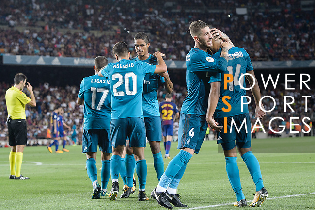 Marco Asensio Willemsen of Real Madrid (C) celebrating his score with his teammates during the Supercopa de Espana Final 1st Leg match between FC Barcelona and Real Madrid at Camp Nou on August 13, 2017 in Barcelona, Spain. Photo by Marcio Rodrigo Machado / Power Sport Images