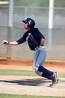 Milwaukee Brewers minor league outfielder Tyrone Taylor #37 at bat during an instructional league game against the Cincinnati Reds at Maryvale Baseball Park on October 3, 2012 in Phoenix, Arizona.  (Mike Janes/Four Seam Images)