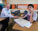 Microsoft president and chief legal officer Brad Smith meets with Fernley middle school student Sky Yi in Fernley, Nevada on Tuesday, July 18 2017.