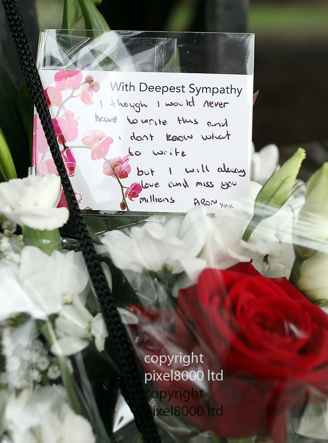 pix shows: Crash scene today in Hayes where three teens died on Friday night. <br /> <br /> Family members distraught as they flowers at the scene today  they left notes<br /> <br /> Bus stop near Esso garage on  Shepiston Lane -<br /> <br /> scrapes can been seen on the wall and a brick pillar was destroyed  <br /> <br /> <br /> <br /> Pic by Gavin Rodgers/Pixel8000 Ltd