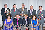 Members of  the Dr Croke's GAA club who were honoured at the club's social in the INEC Killarney on Friday night front row l-r: Helen Fitzgerald Supporter of the year, Patrick O'Sullivan Kerry County Board Chairman, Vincent Casey Dr Crokes Chairman, Edel Carroll Ladies Player of the Year. Back row: Terry Potts Clubman of the Year, David Moloney Junior Player of the Year, Eoin Brosnan Senior Player of the Year, Tim Hourigan Hurler of the Year and Bryan O'Shea Young Player of the Year..