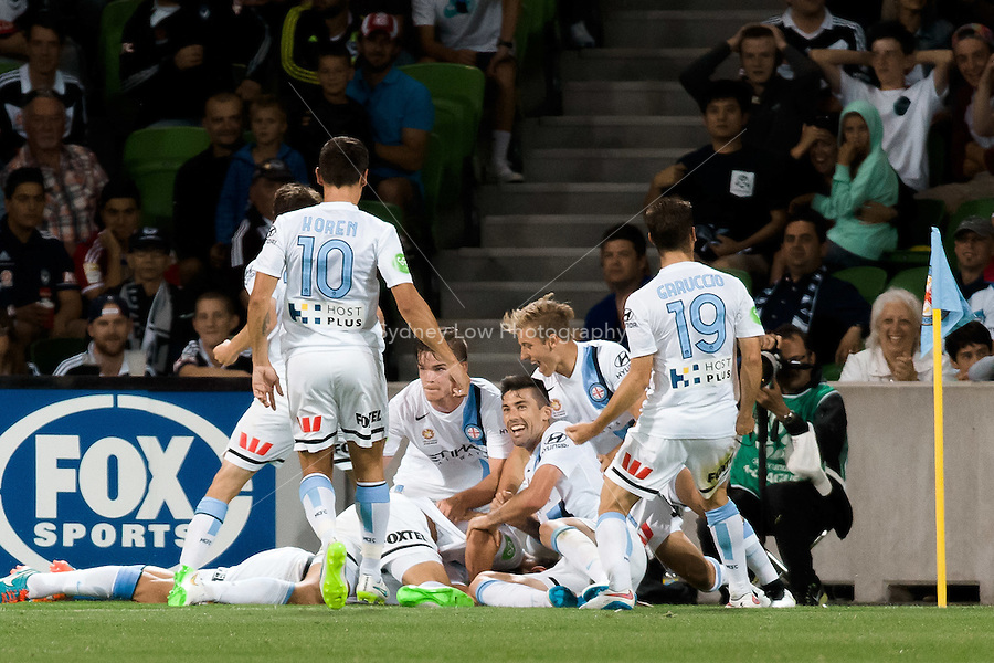 Erik PAARTALU of Melbourne City celebrates his goal in round 11 A-League match between Melbourne City and Melbourne Victory at AAMI Park in Melbourne, Australia during the 2014/2015 Australian A-League season. City def Victory 1-0