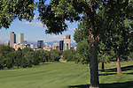 Getty Images exclusive, Downtown Denver skyline and City Park Golf Course, with the Rocky Mountains behind, Denver, Colorado. .  John offers private photo tours in Denver, Boulder and throughout Colorado. Year-round Colorado photo tours.