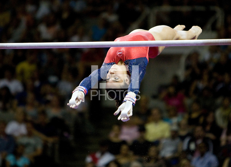 Alexandra Raisman of Brestyan's competes on uneven bars during 2012 US Olympic Trials Gymnastics Finals at HP Pavilion in San Jose, California on July 1st, 2012.