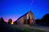 "A meteor streaks across the northern sky above this historic barn near Oakley, Utah during the waning hours of the Perseids meteor shower at 5 a.m. this morning. I used a vintage Nikon f 2.8 24mm lens that once belonged to my father and a camping headlamp to ""light paint"" the face of the barn. I simply got lucky with the meteor. Please feel free to share! August 13, 2013."