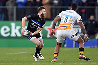 Max Wright of Bath Rugby looks to pass the ball. Heineken Champions Cup match, between Bath Rugby and Wasps on January 12, 2019 at the Recreation Ground in Bath, England. Photo by: Patrick Khachfe / Onside Images