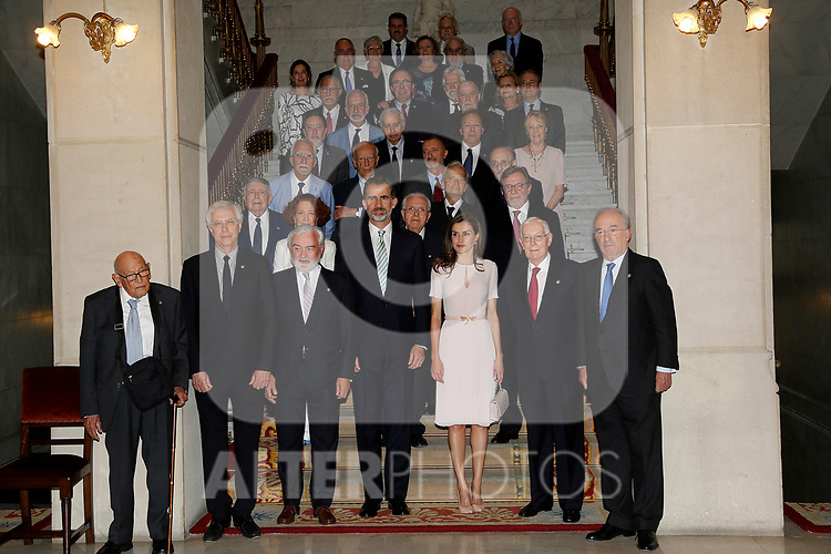 King Felipe VI of Spain and Queen Letizia of Spain attend the Presidency of the Plenary of the Spanish Royal Academy of Language 'RAE' in presence the of of the members of the institution Manuel Seco Reymundo, Pere Gimferrer Torrens, Gregorio Salvador Caja, Francisco Rico Manrique, Francisco Rodriguez Adrados, Víctor Garcia de la Concha, Emilio Lled Inigo, Luis Goytisolo Gay, Mario Vargas Llosa, Antonio Munoz Molina, Juan Luis Cebrian Echarri, Ignacio Bosque Munoz, Luis Maria Anson Oliart, Luis Mateo Diez, Guillermo Rojo, Jose Antonio Pascual,Carmen Iglesias, Margarita Salas Falgueras, Arturo Perez-Reverte Gutierrez, Jose Manuel Sanchez Ron, Alvaro Pombo, Antonio Fernandez de Alba, Francisco Brines, Jose Manuel Blecua, Pedro Garcia Barreno, Salvador Gutierrez Ordonez, Javier Marias, Dario Villanueva Prieto, Jose Maria Merino, Soledad Puertolas Villanueva, Ines Fernandez-Ordonez, Pedro Alvarez de Miranda, Juan Gil, Jose B. Terceiro, Santiago Munoz Machado, Miguel Saenz,Carme Riera Guilera, Jose Luis Gomez, Aurora Egido Martinez, Manuel Gutiérrez Aragon, Felix de Azua, Clara Janes, Paz Battaner and Federico Corriente Cordoba. June 22 ,2017. (ALTERPHOTOS/Pool)