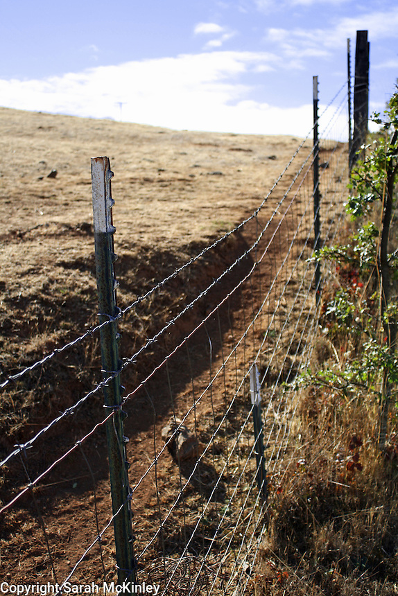 A barbed wire fence runs along a ditch on a hill on Reynold's Highway outside of Willits in Mendocino County in Northern California.