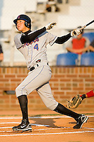 Wilmer Flores (4) of the Kingsport Mets watches the flight of his solo home run in the top of the first inning versus the Johnson City Cardinals at Howard Johnson Field in Johnson City, TN, Thursday July 3, 2008.
