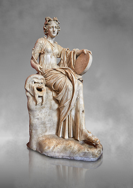 2nd century AD Roman statue of the muse of comedy, Thalia, with a tympanum and a comic mask. A Roman copy of a 4th century BCHellenistic statue, inv 295, Vatican Museum Rome, Italy,  grey art background
