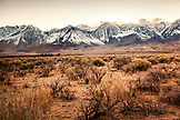 USA, California, Mammoth, snow dusted mountain ranges north of Independence