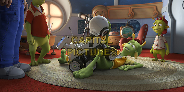 "SCENE - ""Rover"", ""Skiff"" voiced by Seann William Scott & ""Eckle"" voiced by Freddie Benedict .in Planet 51 .*Filmstill - Editorial Use Only*.CAP/FB.Supplied by Capital Pictures."