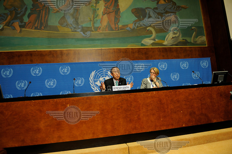 Ban Ki-Moon, Secretary General of the United Nations during a press conference at the United Nations in Geneva (UNOG). To his left, Corinne Momal-Vanian, Director of the United Nations Information Service..