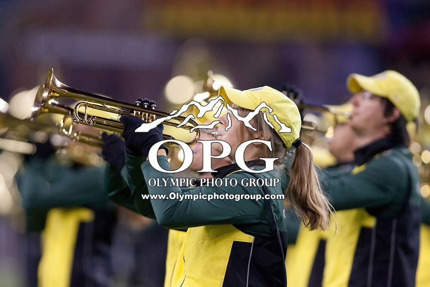 Sep  30, 2012:  Oregon band members entertained the crowed before the game against Washington State.  Oregon defeated Washington State 51-26 at Century Link Stadium in Seattle, Washington...