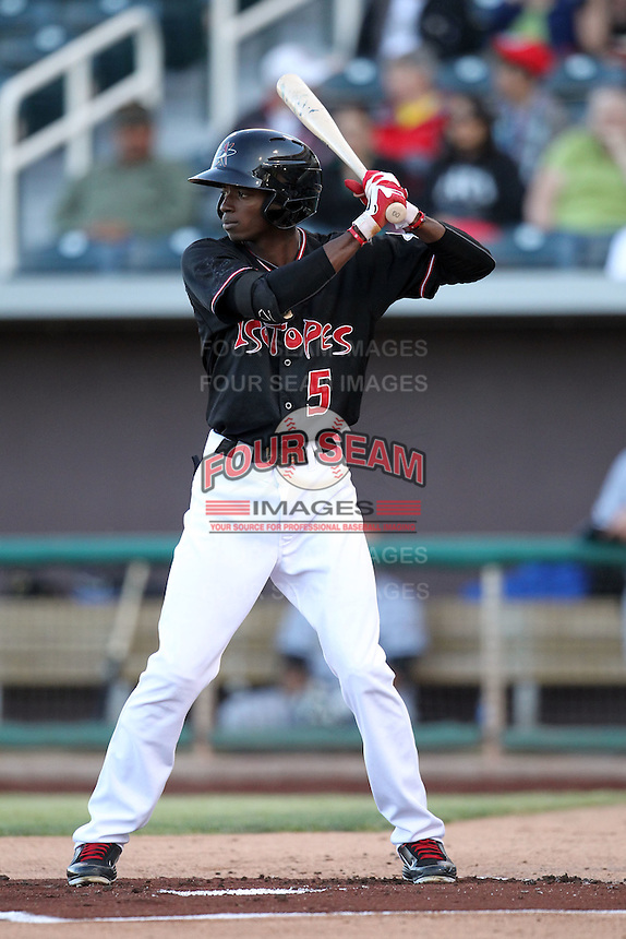 Dee Gordon #5 of the Albuquerque Istotopes plays in a Pacific Coast League game against the Omaha Storm Chasers at Isotopes Park on May 3, 2011  in Albuquerque, New Mexico. Photo by:  Bill Mitchell/Four Seam Images.
