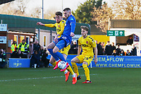 Joe Pigott of AFC Wimbledon and Harry Souttar of Fleetwood Town and Lewis Gibson (19) of Fleetwood Town during AFC Wimbledon vs Fleetwood Town, Sky Bet EFL League 1 Football at the Cherry Red Records Stadium on 8th February 2020