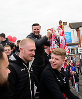 Lincoln City's assistant manager Nicky Cowley with the League 2 Trophy during the Open Top Bus Parade through Lincoln<br /> <br /> Photographer Chris Vaughan/CameraSport<br /> <br /> The EFL Sky Bet League Two - Lincoln City - Champions Parade - Sunday 5th May 2019 - Lincoln<br /> <br /> World Copyright © 2019 CameraSport. All rights reserved. 43 Linden Ave. Countesthorpe. Leicester. England. LE8 5PG - Tel: +44 (0) 116 277 4147 - admin@camerasport.com - www.camerasport.com