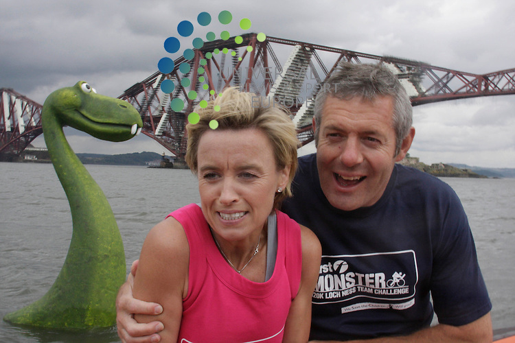 Former international athletic star Liz McColgan and ex Scottish Rugby captain Gavin Hastings meet the Loch Ness Monster, Nessy, as she makes a visit to the Firth of Forth to promote the Monster Challenge, a team relay 120km race around Loch Ness, to take place on 12/09/09..Picture taken 23/07/09 by Jim Carroll