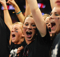 Monroe students celebrate their 52-46 high school boys basketball Division 2 state championship over rival Port Washington on Saturday, 3/17/07, at the Kohl Center in Madison, Wisconsin