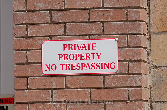no trespassing private property sign, Colorado City/Hildale.<br />
