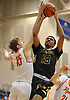 Antonio Lopez #13 of St. Anthony's looks to draw a foul as he drives to the net during the NSCHSAA varsity boys basketball final against Chaminade at Hofstra University on Tuesday, Feb. 27, 2018. St. Anthony's won by a score of 63-60.