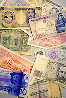 Colorful currency from many countries.