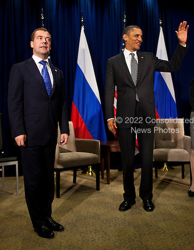 United States President Barack Obama, right, meets with President Dmitry Medvedev of Russia, left, during the Asia-Pacific Economic Cooperation (APEC) at the Hale Koa Hotel  in Honolulu, Hawaii on Saturday, November 12, 2011..Credit: Kent Nishimura / Pool via CNP