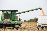 63801-07008 Farmer harvesting corn, Marion Co., IL
