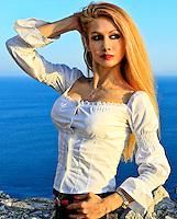Beautiful woman in Kythera island, Greece
