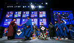 David Miller, dean of the College of Computing and Digital Media, congratulates students Sunday, June 11, 2017, during the DePaul University College of Computing and Digital Media and the College of Communication commencement ceremony at the Allstate Arena in Rosemont, IL. (DePaul University/Jamie Moncrief)