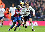 5th November 2017, Wembley Stadium, London England; EPL Premier League football, Tottenham Hotspur versus Crystal Palace; Mamadou Sakho of Crystal Palace makes contact with Fernando Llorente of Tottenham Hotspur while both players are competing for the ball