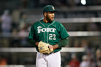 Fort Wayne TinCaps relief pitcher Jordan Guerrero (23) gets ready to deliver a pitch during a game against the West Michigan Whitecaps on May 17, 2018 at Parkview Field in Fort Wayne, Indiana.  Fort Wayne defeated West Michigan 7-3.  (Mike Janes/Four Seam Images)