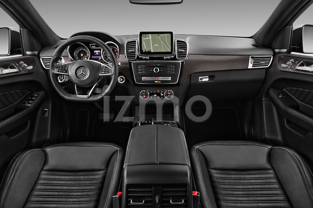 Stock photo of straight dashboard view of 2016 Mercedes Benz GLE-Class 5 Door SUV Dashboard