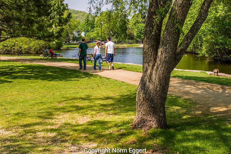 Three people walking on a path at Elm Park, Worcester, MA