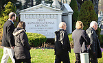 DANBURY, CT - 20 December 2012-122012EC07--    Mourners leave the memorial service of Lauren Gabrielle Rousseau Thursday, a teacher killed at Sandy Hook Elementary.  Hundreds waited outside for the service at First Congregational Church in Danbury.  Erin Covey Republican-American.