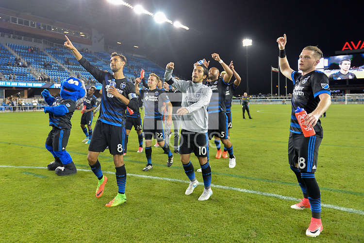San Jose, CA - Wednesday June 28, 2017: Chris Wondolowski, Jahmir Hyka, Kip Colvey during a U.S. Open Cup Round of 16 match between the San Jose Earthquakes and the Seattle Sounders FC at Avaya Stadium.