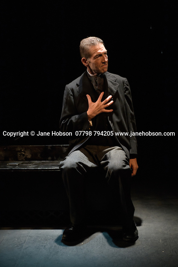 Arcola Theatre presents The Theatre Chipping Norton's production of THE KREUTZER SONATA, by Leo Tolstoy, adapted by Nancy Harris. Directed by John Terry, with lighting desing by Alexndra Stafford and set and costume design by Alex Berry. Greg Hicks stars as Pozdnyshev. Picture shows: Greg Hicks (Pozdnyshev).