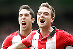 Athletic de Bilbao's Javi Eraso (r) and Sabin Merino celebrate goal during La Liga match. February 13,2016. (ALTERPHOTOS/Acero)