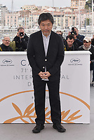 Director Hirokazu Koreeda at the photocall for Japanese film 'Shoplifters (Manbiki Kazoku)' during the 71st annual Cannes Film Festival at Palais des Festivals on May 14, 2018 in Cannes, France.<br /> CAP/PL<br /> &copy;Phil Loftus/Capital Pictures