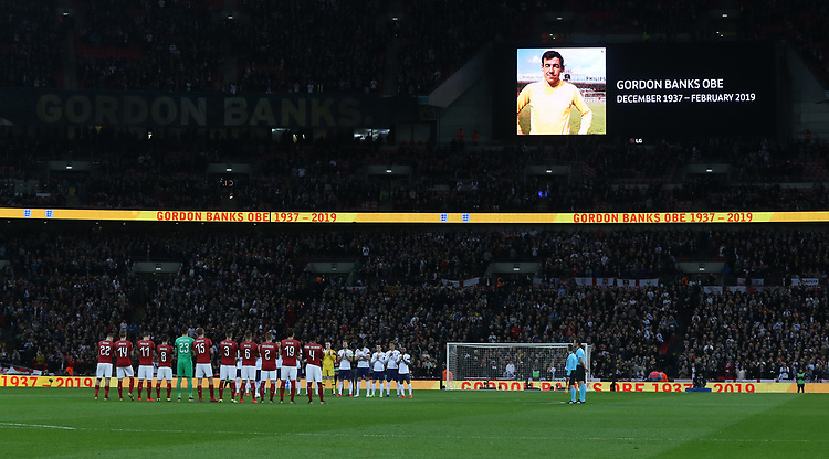 A minute's applause for former England goalkeeper Gordon Banks<br /> <br /> Photographer Rob Newell/CameraSport<br /> <br /> UEFA Euro 2020 Qualifying round - Group A - England v Czech Republic - Friday 22nd March 2019 - Wembley Stadium - London<br /> <br /> World Copyright © 2019 CameraSport. All rights reserved. 43 Linden Ave. Countesthorpe. Leicester. England. LE8 5PG - Tel: +44 (0) 116 277 4147 - admin@camerasport.com - www.camerasport.com