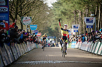 race winner Laurens Sweeck (BEL/Corendon-Kwadro) crossing the finish line victoriously<br /> <br /> U23 race<br /> Krawatencross <br /> bpost bank trofee 2015