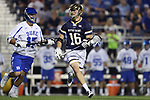 DURHAM, NC - APRIL 28: Notre Dame's Sergio Perkovic (16) and Duke's Thomas Zenker (17). The Duke University Blue Devils played the University of Notre Dame Fighting Irish on April 28, 2017, at Koskinen Stadium in Durham, NC in a 2017 ACC Men's Lacrosse Tournament Semifinal match. Notre Dame won the game 7-6.