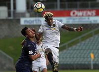 Nathanael Hailemariam wins a header during the ISPS Handa Premiership football final between Auckland City FC and Team Wellington at QBE Stadium in Albany, New Zealand on Sunday, 1 April 2018. Photo: Dave Lintott / lintottphoto.co.nz