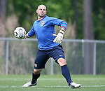 Marcus Hahnemann throws the ball on Sunday, May 14th, 2006 at SAS Soccer Park in Cary, North Carolina. The United States Men's National Soccer Team held a training session as part of their preparations for the upcoming 2006 FIFA World Cup Finals being held in Germany.