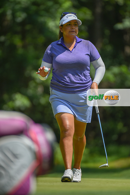 Lizette Salas (USA) after sinking her putt on 1 during round 4 of the U.S. Women's Open Championship, Shoal Creek Country Club, at Birmingham, Alabama, USA. 6/3/2018.<br /> Picture: Golffile | Ken Murray<br /> <br /> All photo usage must carry mandatory copyright credit (© Golffile | Ken Murray)