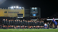 The All Blacks line up before the Bledisloe Cup and Rugby Championship rugby match between the New Zealand All Blacks and Australia Wallabies at Eden Park in Auckland, New Zealand on Saturday, 25 August 2018. Photo: Simon Watts / lintottphoto.co.nz