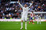 Sergio Ramos of Real Madrid celebrates the victory during La Liga match between Real Madrid and Atletico de Madrid at Santiago Bernabeu Stadium in Madrid, Spain. February 01, 2020. (ALTERPHOTOS/A. Perez Meca)