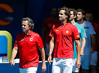 8th January 2020; RAC Arena, Perth, Western Australia; ATP Cup Australia, Perth, Day 6; Spain versus Japan; Francisco Roig Captain of Spain leads his team out to the court - Editorial Use